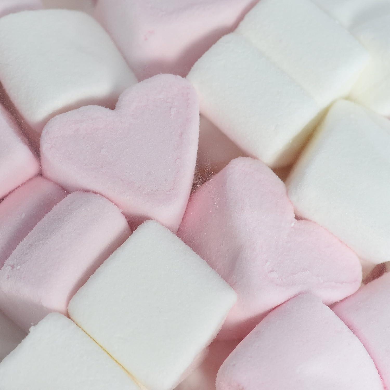 Corazones de malvavisco 1 kg - caramelos suaves para el Día de San Valentín o el Día de la Madre - Marshmallow en los colores rosa y blanco - sin grasa y sin gluten