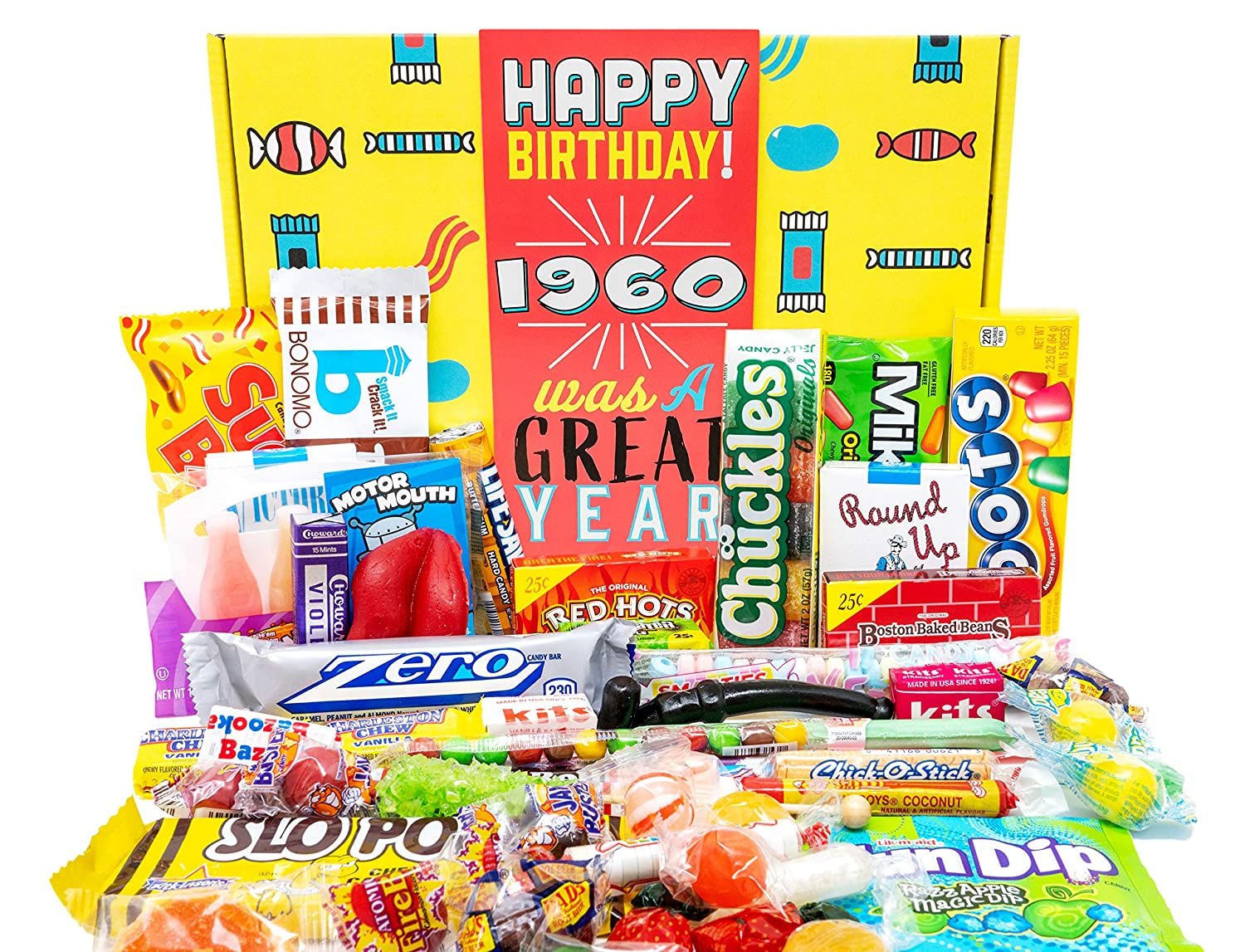 Woodstock Candy - 1960 61st Birthday Candy Decade Box - Ultimate Variety 61st Birthday Gift Box Assortment Basket for Man or Woman Turning 61 Years Old - Retro Candies for Him or Her Born 1960