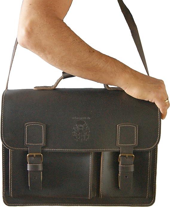 Briefcase MICHELANGELO brown organic leather Made in Germany BARON of MALTZAHN