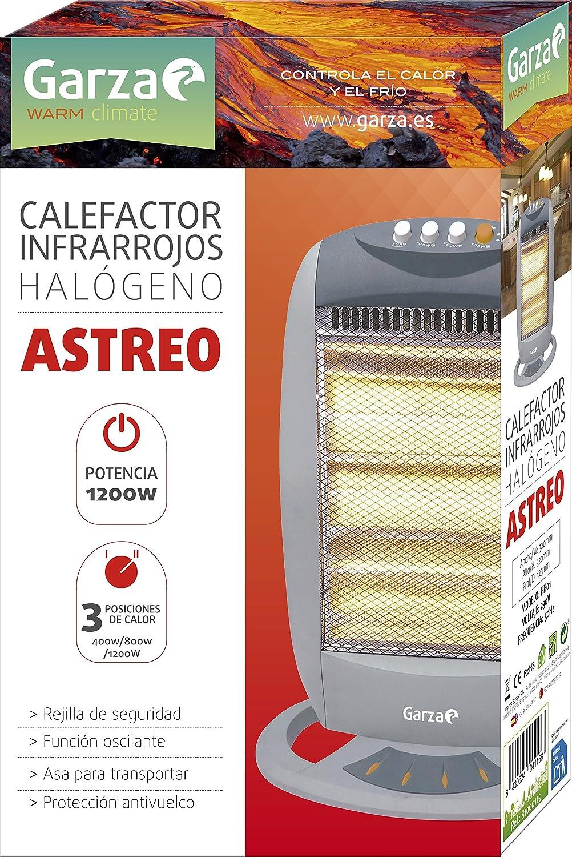 Garza Astreo - Calefactor halógeno infrarrojos con función oscilante, Potencia 1200W, Mod 81000115: Amazon.es: Hogar