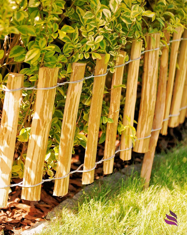 Floranica Dekorativer natürlicher Steckzaun aus Holz keine