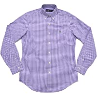 Polo Ralph Lauren Men's Classic Fit Long Sleeve Woven Buttondown Shirt (L, Purple White Gingham)