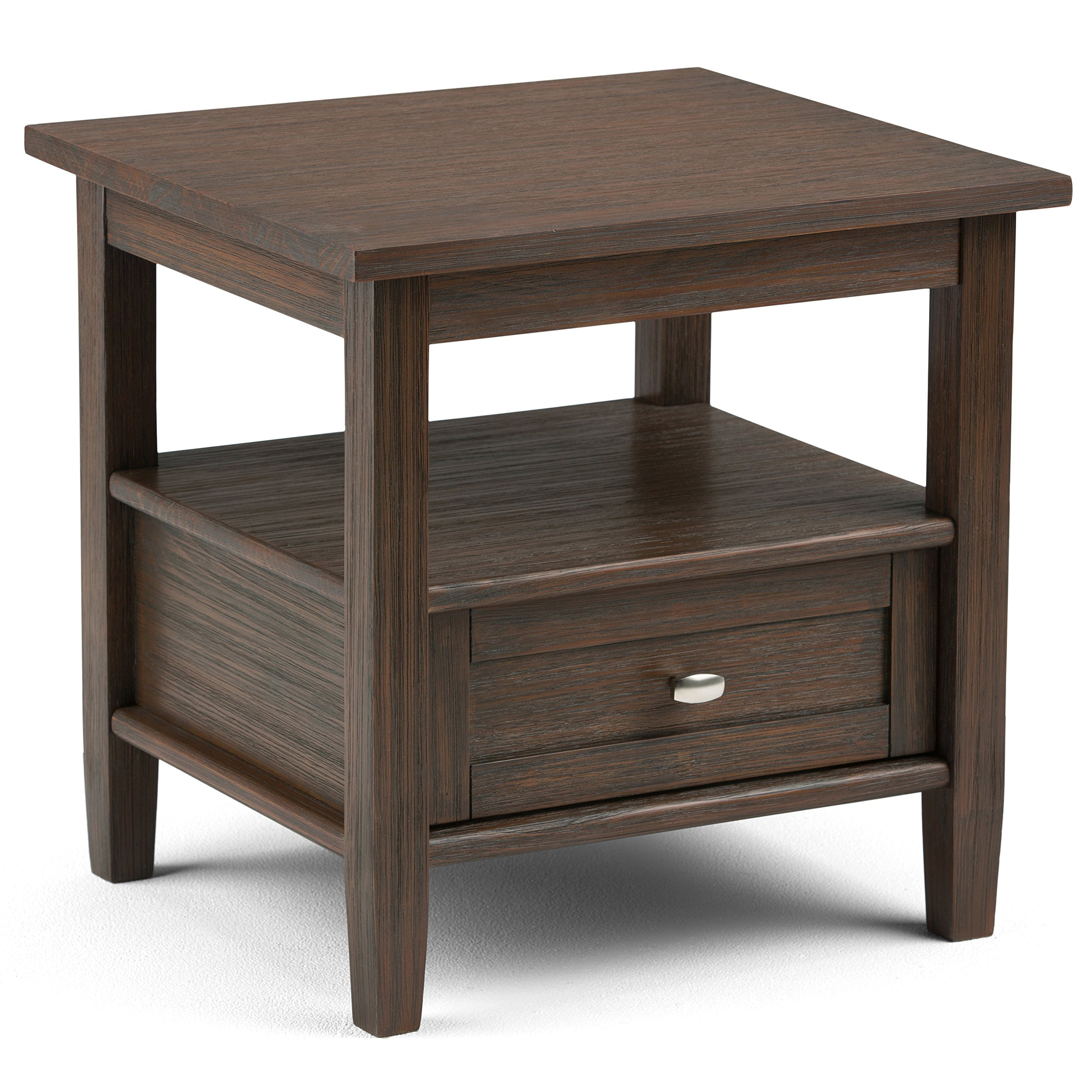 Simpli Home AXWSH002-FB Warm Shaker Solid Wood 20 inch wide Rustic End Side Table in Farmhouse Brown by Simpli Home