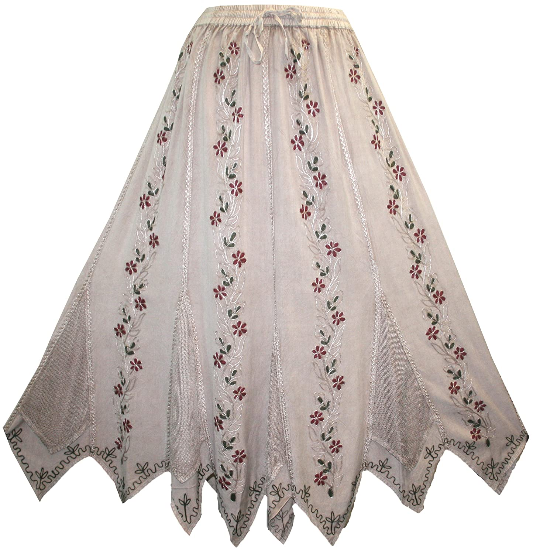 714 SK Agan Traders Bohemian Gypsy Asymmetrical Hem Rayon Netted Skirt
