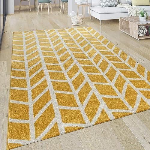 Yellow Modern Area Rug Living Room Geometric Pattern
