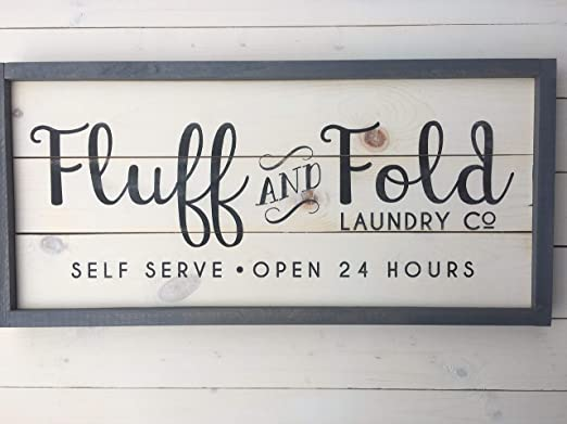 H34565ard Fluff And Fold Laundry Room Sign Farmhouse Wall Decor Laundry Sign Painted Wood Sign Rustic Laundry Room Decor Amazon Co Uk Kitchen Home