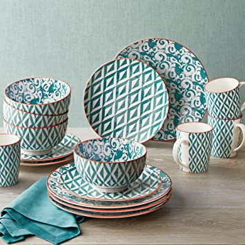 Durable Fun Teal Hand Crafted Style Porcelain Dinnerware Set 16Pcs & Amazon.com | Durable Fun Teal Hand Crafted Style Porcelain ...