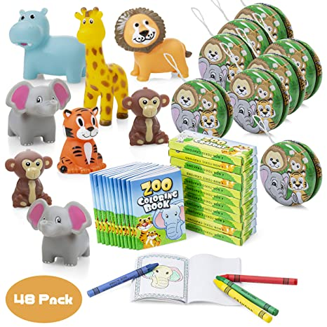 Favonir™ Safari Themed Party Favor 48 Bulk Pack - Mini Coloring Books With  Crayons For Kids – Assorted Squeezable Jungle Animals - Metal Yoyos – Ideal  ...