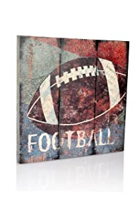 "Football Sports Canvas Wall Art | Boys Bedroom Décor | Kids Room | Vintage Sports Art | Football Decor | for Sports Room & Game Room | Great Gift | Large Size 18""x18"""