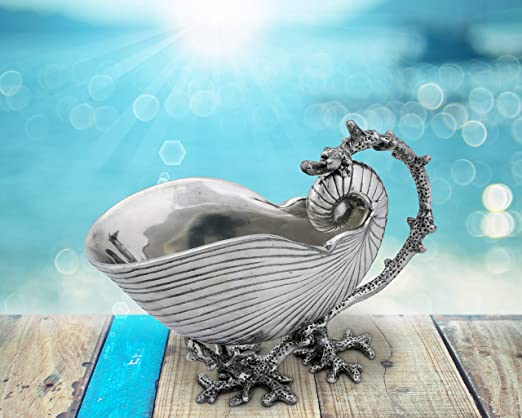 Christmas Tablescape Decor - Silver metal mollusk seashell shaped sauce serving bowl by Arthur Court Designs