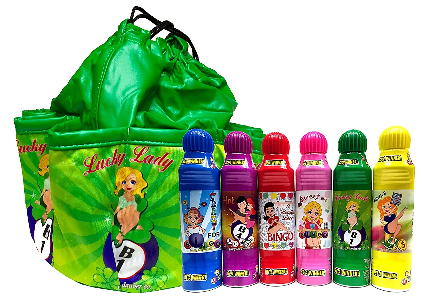 Lucky Lady Green Bingo Bag B1 with 6 Pack of Lucky Lady Dab-O-Ink Bingo Daubers Bonus!! Lucky Lady