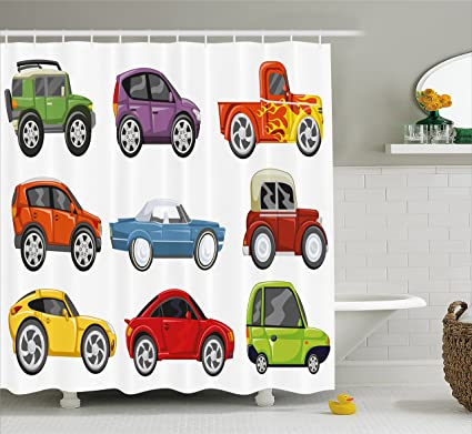 Lunarable Boys Room Shower Curtain Race Cars Monster Truck Classics Urban Jeep Artistic Speed Automobiles