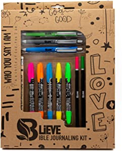 BLIEVE - Bible Journaling Kit With Gel Highlighters And Pens No Bleed, Scripture Markers and Pencils Supplies, Stencils Planner Set For Coloring Journal Art Illustrated By Faith Christian Gifts 24pcs