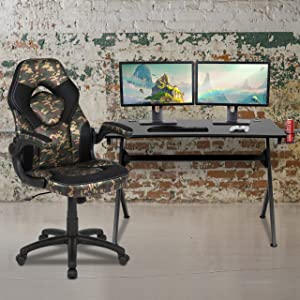 Flash Furniture Black Gaming Desk and Camouflage/Black Racing Chair Set with Cup Holder, Headphone Hook & 2 Wire Management Holes