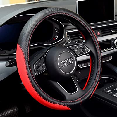 Labbyway New Microfiber Leather Steering Wheel Covers, Breathable, Anti-Slip, Odorless,Universal 15 inch (Red): Automotive