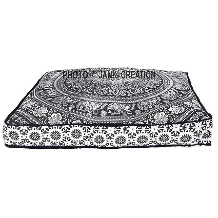 Perro Puff Mandala algodón Hippy perro Puff almohada Funda para cojín, Indian algodón Mandala Boho