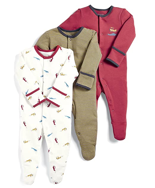 Mamas & Papas 3 Pack Aeroplane Sleepsuits, Pelele para Bebés, Rojo (Red S79FFM2