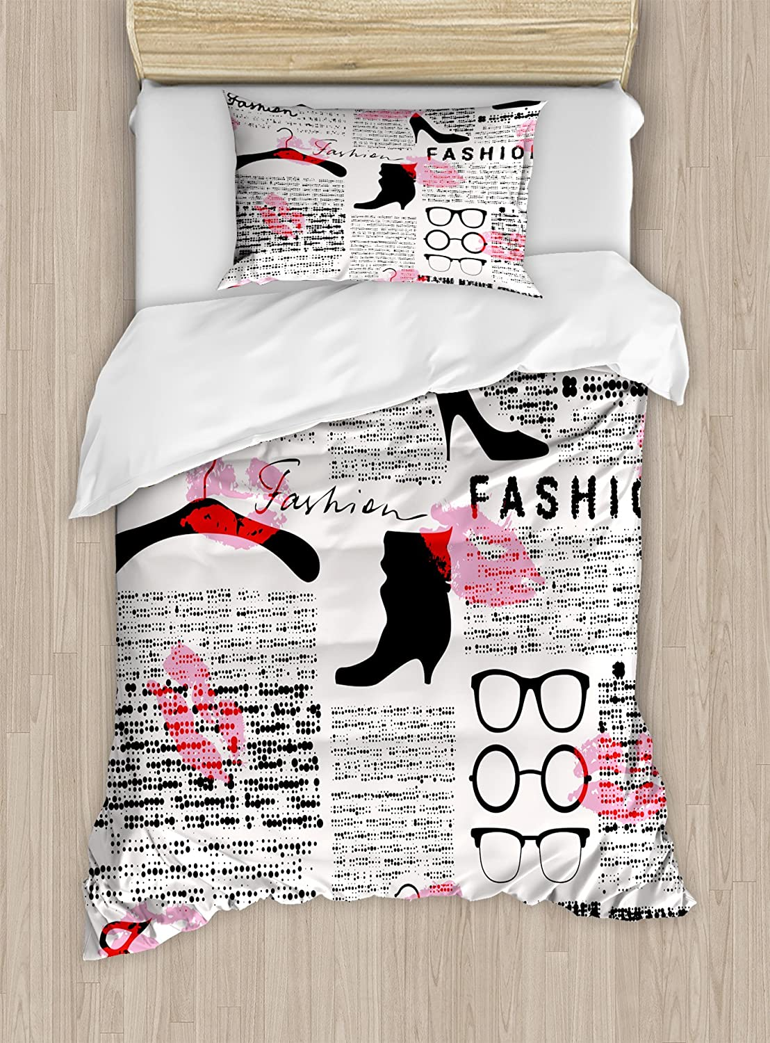 Ambesonne Old Newspaper Duvet Cover Set Twin Size, Fashion Elements Kisses Lipstick Glasses Shoes Hangers Print, Decorative 2 Piece Bedding Set with 1 Pillow Sham, Scarlet Baby Pink Black