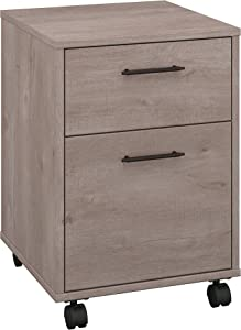 Bush Furniture Key West Collection 2 Drawer Mobile Pedestal in Washed Gray