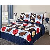Golden Linens 3 pieces Full Size Quilt Bedspread Set Kids Sports Basketball Football Baseball For Boys & Girls (Full)