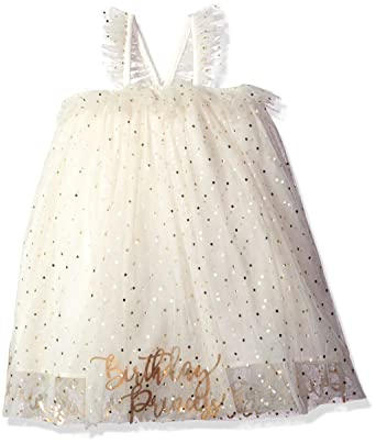 Mud Pie Baby Girls Birthday Dress Ivory Gold 12Months 5Toddler