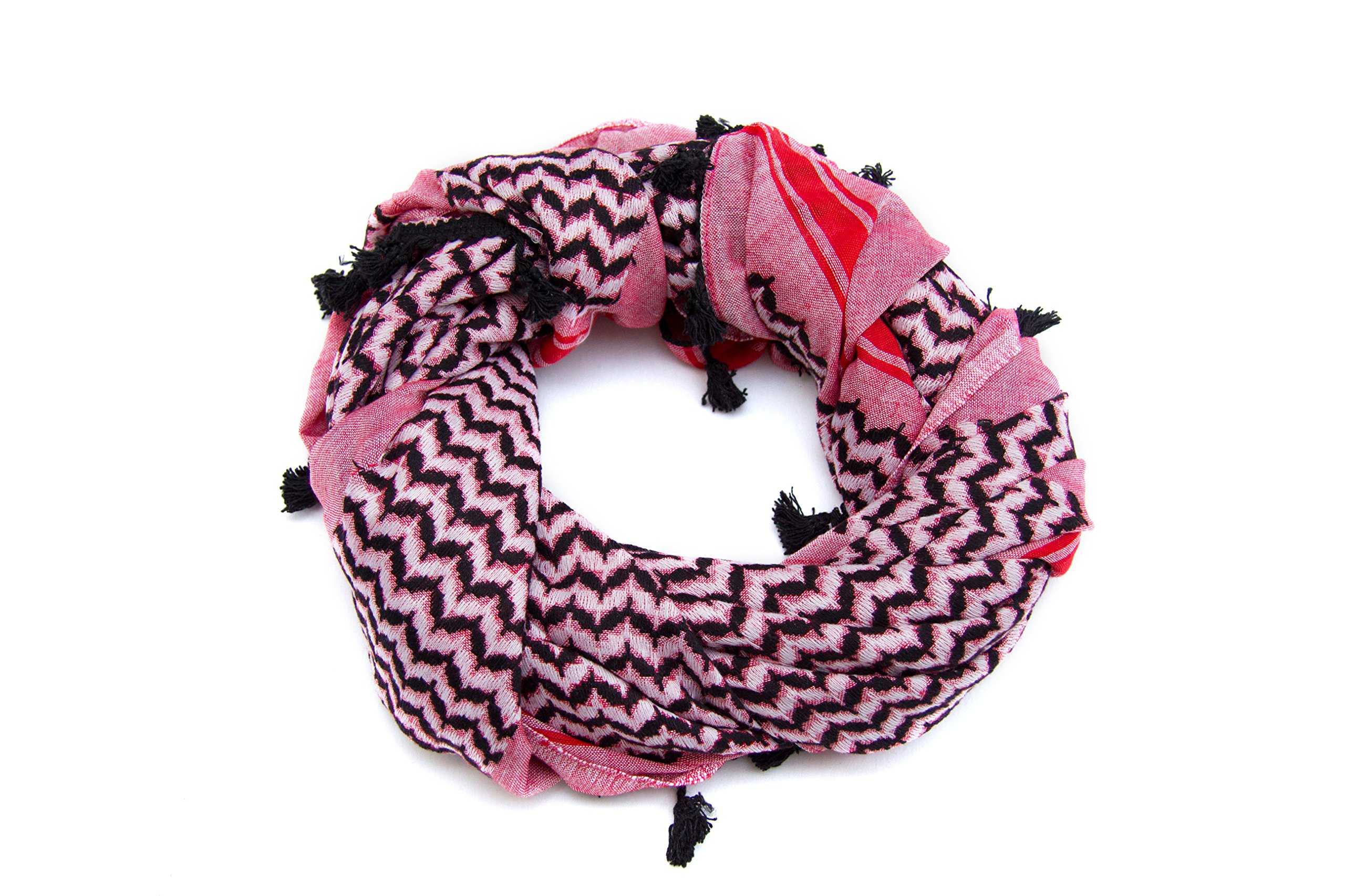 Hirbawi Premium Arabic Scarf 100% Cotton Shemagh Keffiyeh 47''x47'' Arab Scarf (Pink Zahra) Made in Palestine by Hirbawi (Image #2)