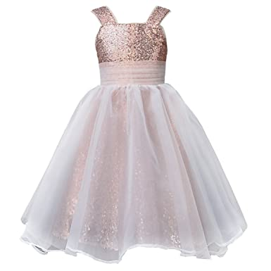 3c5ff25bb73c Mermaidtalee Long Sequin Girl's Dresses Flower Girl Dresses Size2T Blush