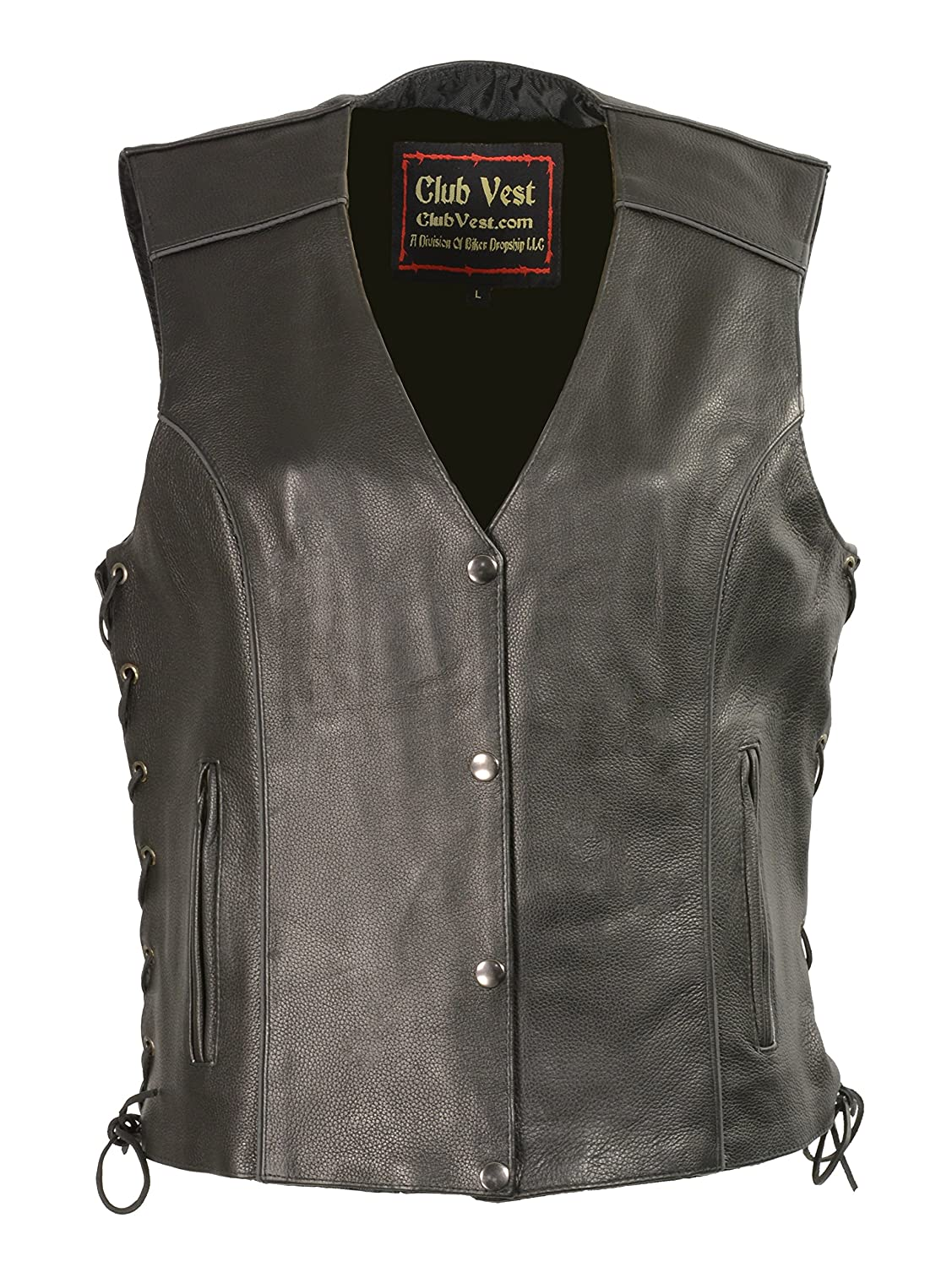 Black ClubvestLadies Side Lace Vest w Reflective Piping