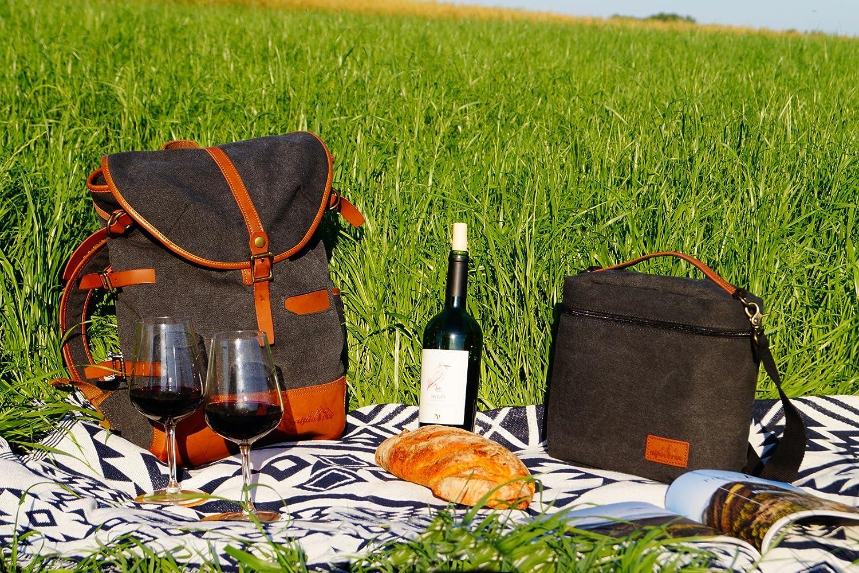 Alpintree Rucksack mit Thermotasche Street Food Set Daypack Daypack Daypack Laptoptasche Thermotasche Picknick Rucksack Alkantara Leder (Anthrazit) B07DGH6FCP Daypacks Zu verkaufen 86f342