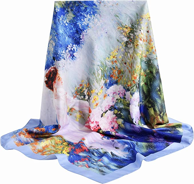 """vimate silk scarf, 100% Real Silk Neck Scarf for Women with Gift Box package, Square 35""""x 35"""""""