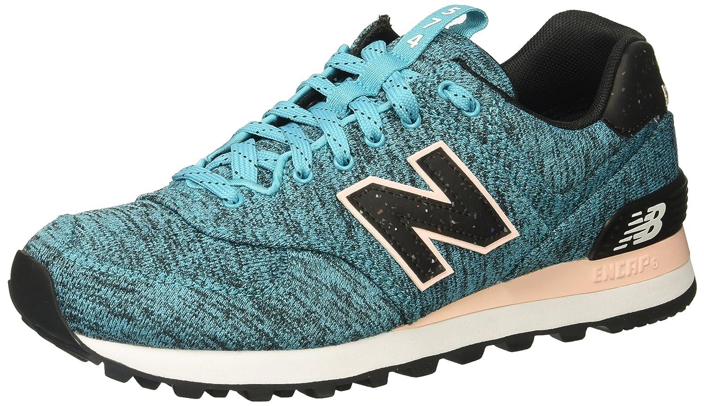 New Balance Women's 574v1 Sneaker B01N3C1ED1 12 B(M) US|Vivid Ozone Blue/Sunrise Glo