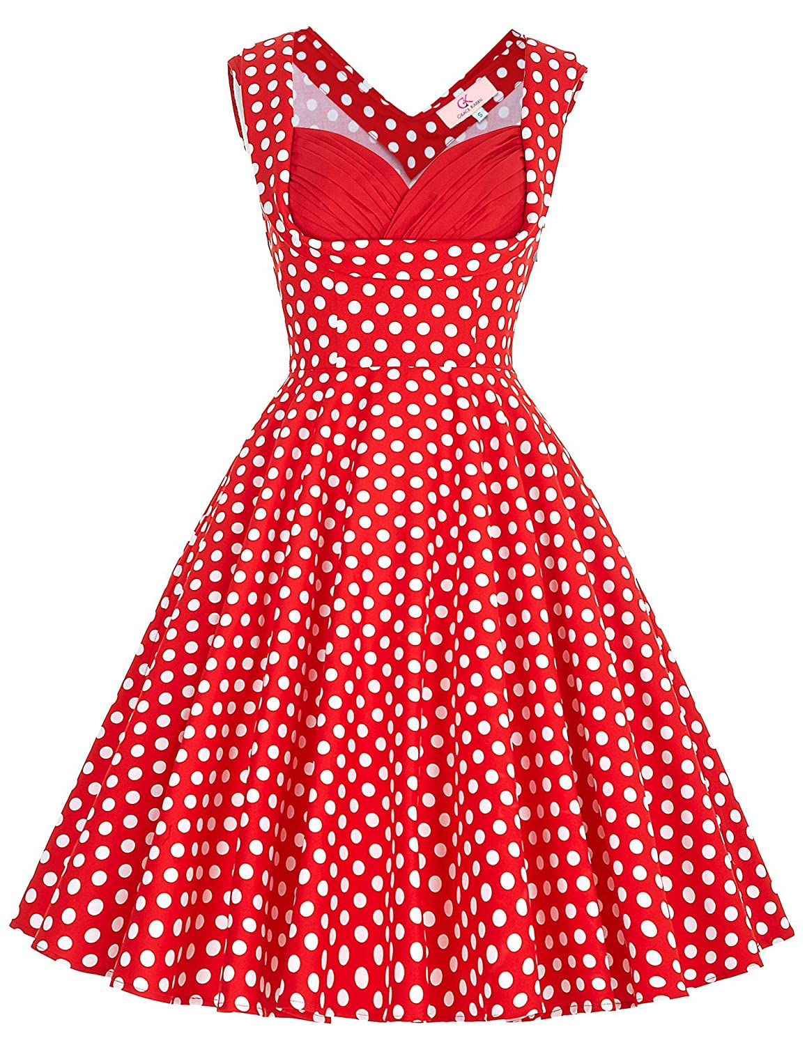 1950s Polka Dot Dresses Grace Karin Womens Vintage 1950s Floral Cut Out Casual Party Dresses $15.99 AT vintagedancer.com