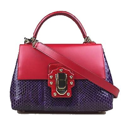 d9b68220cdd8 ... DOLCE GABBANA Miss Lucia Crocodile Python Snakeskin Leather Red Purple  Sicily Bag Handbag Purse new style ...