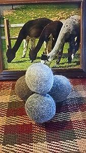 Set of 6-All Natural Alpaca Wool Dryer Balls-Hypoallergenic-Organic-Handmade-Fabric Softener, Dryer Sheet Replacement