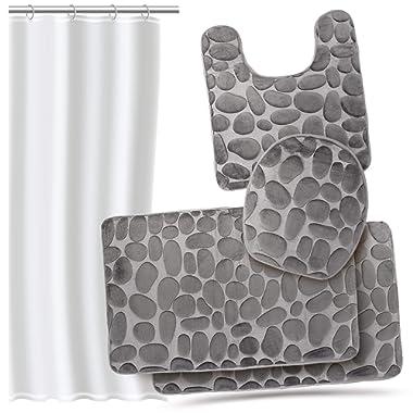 Effiliv Bathroom Rug Set 4 Piece Memory Foam Large Extra Soft Bath Rugs + Shower Liner, Grey