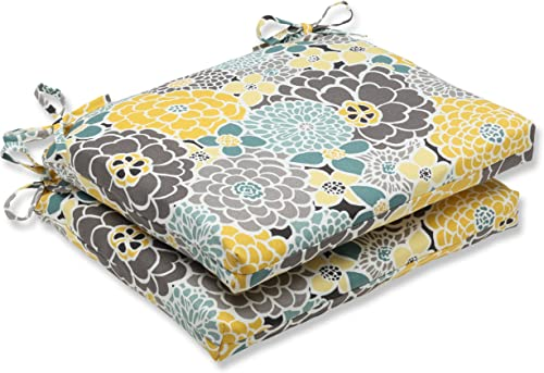 Pillow Perfect Outdoor Indoor Lois Vapor Square Corner Seat Cushions, 18.5 in. L X 16 in. W X 3 in. D, Blue, 2 Pack