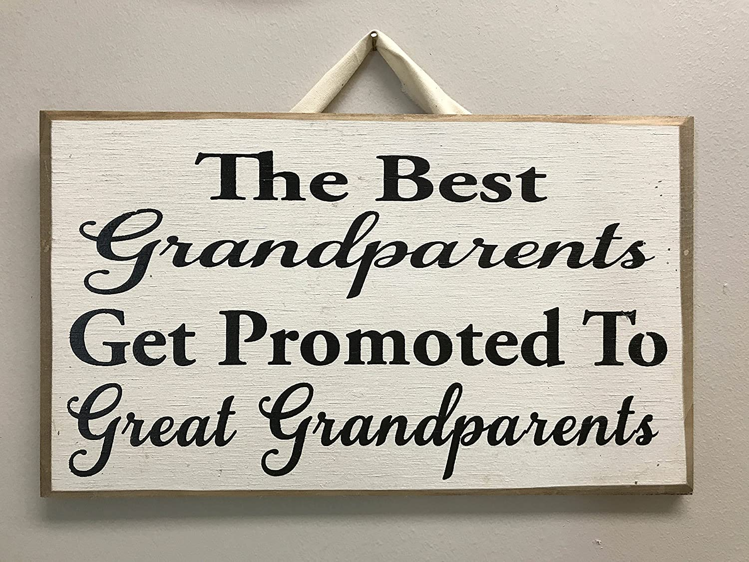 Wood Plaque Best Grandparents Get Promoted to Great Grandparents Sign Wood Gift from Children Christmas Mothers Day Announce Pregnancy Photo Prop Wall Hanging Sign Home Decor Teisyouhu wood sign