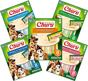 INABA Churu Lickable Wet Treat for Dogs - Chicken with Tuna, Salmon, Cheese, or Vegetables Recipe