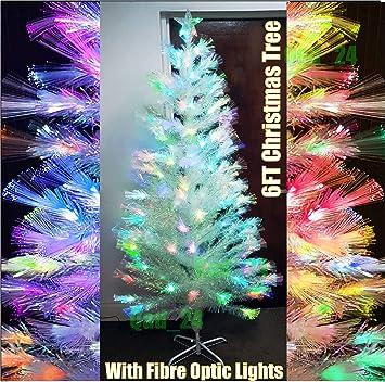 Étonnant Artificiel Blanc 1,8 m Fibre optique Pour sapin de Noël avec LED AO-38