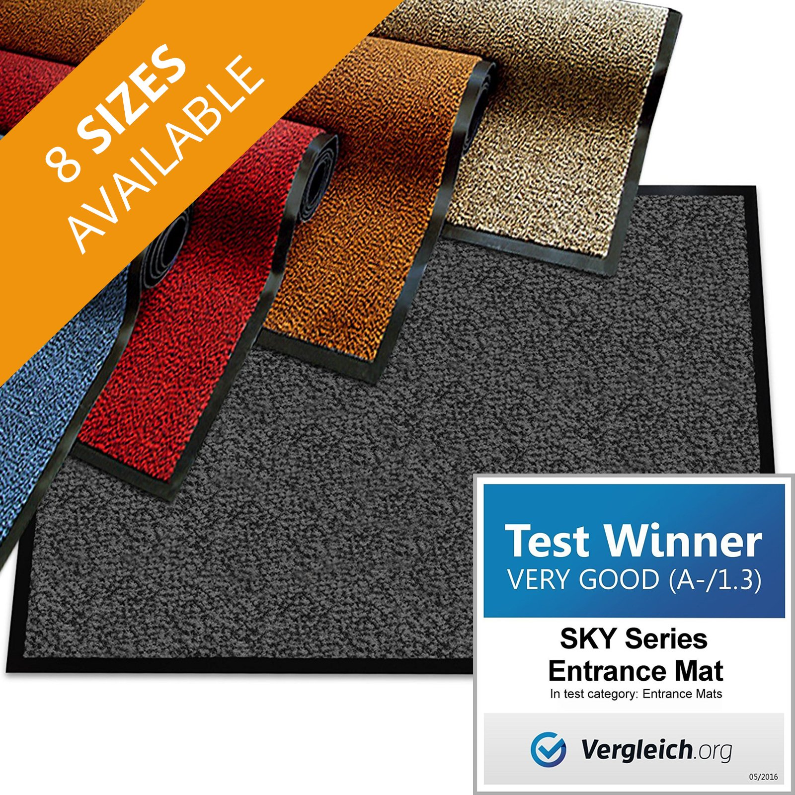 casa pura Premium Entry Mat | Entrance Mat Comparison Test Score: Very Good (A-/1.3) | Ideal as Front Door Mat or Entry Rug | Charcoal Gray - 36'' x 48''