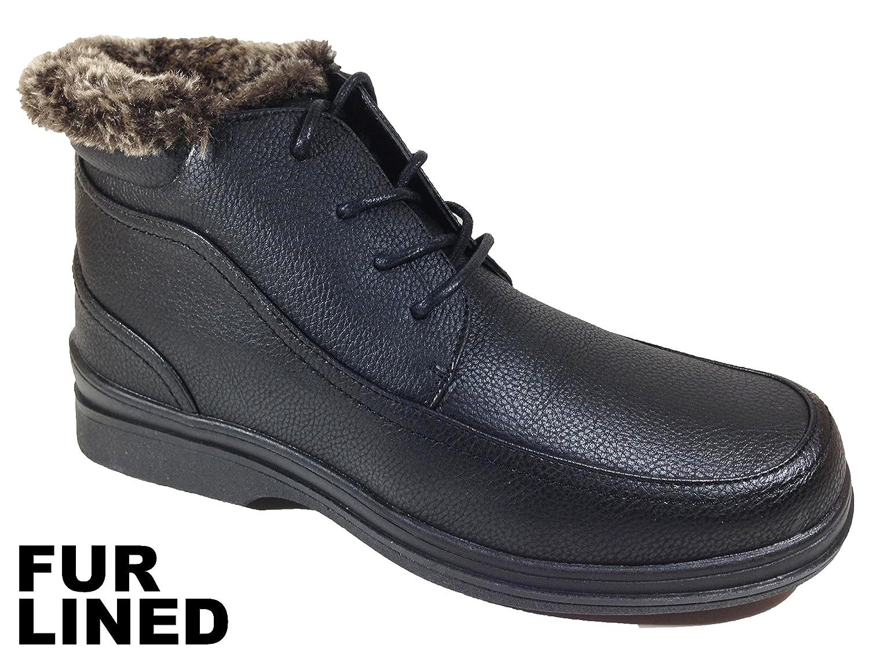 Brixton Men's Winter Faux Fur Ankle Boots Lace up Style (Rusi03)