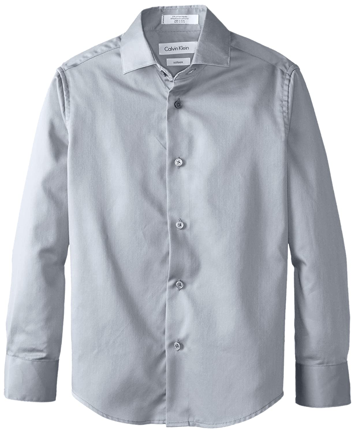 Amazon.com: Calvin Klein Boys\' Long Sleeve Sateen Dress Shirt: Clothing