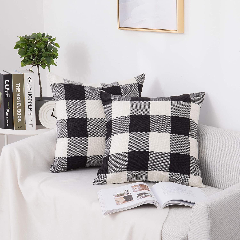 Shunjie.Home Buffalo Check Pillow Covers,Buffalo Plaid Throw Pillow Protector,Soft Soild Decorative Square Throw Pillow Covers,Farmhouse Decor Design 2 Set for Sofa,18 x 18