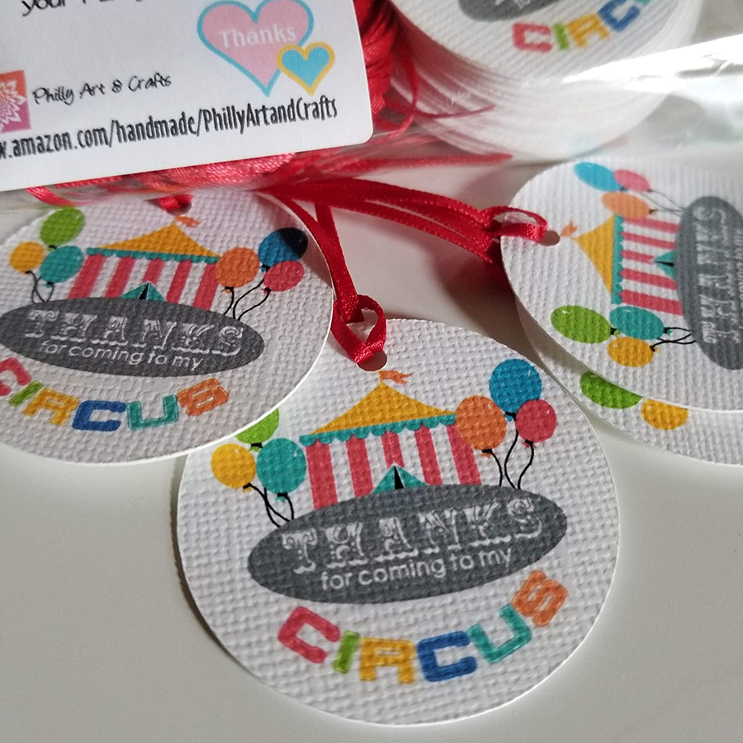 Circus Thank you Tags - Circus Birthday Party favor tags - Colorful Favors Tags - Set of 40 tags