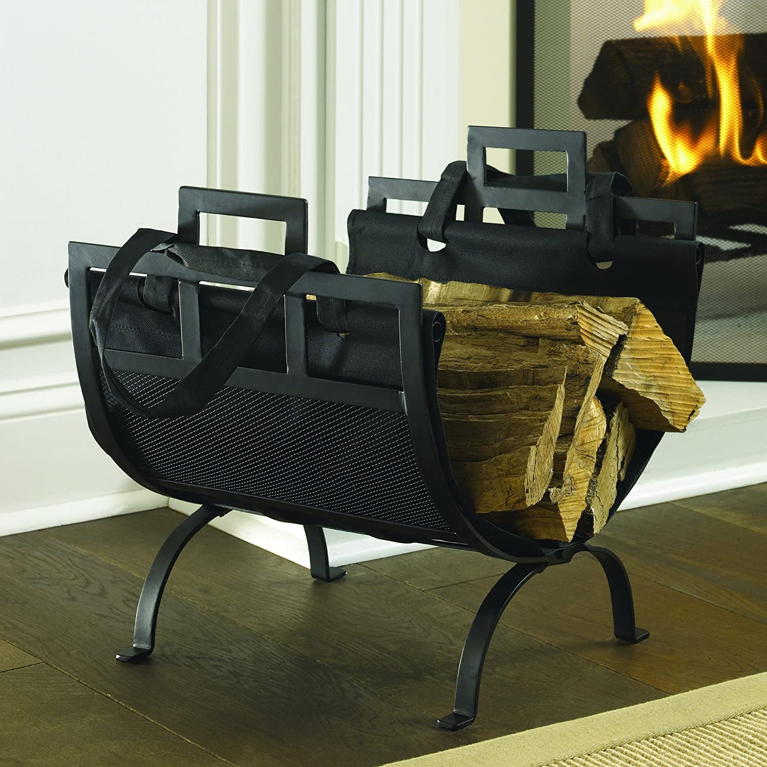 Amazon Com Pleasant Hearth Log Holder With Canvas Tote Carrier