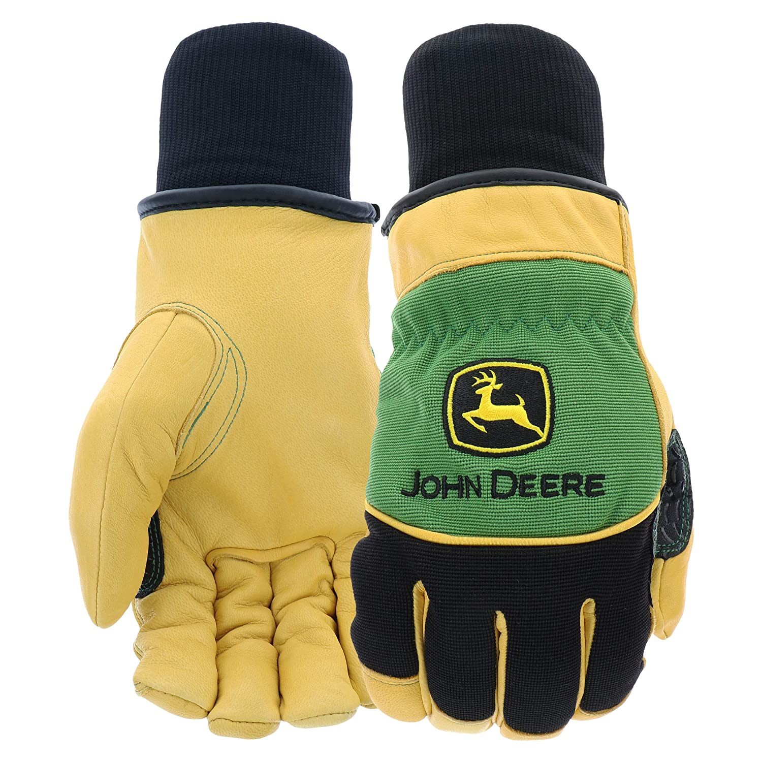 West Chester John Deere JD95040 Grain Deerskin Leather Driver Gloves – [1 pair] Large, Knit wrist, Keystone thumb, Thinsulate Lining