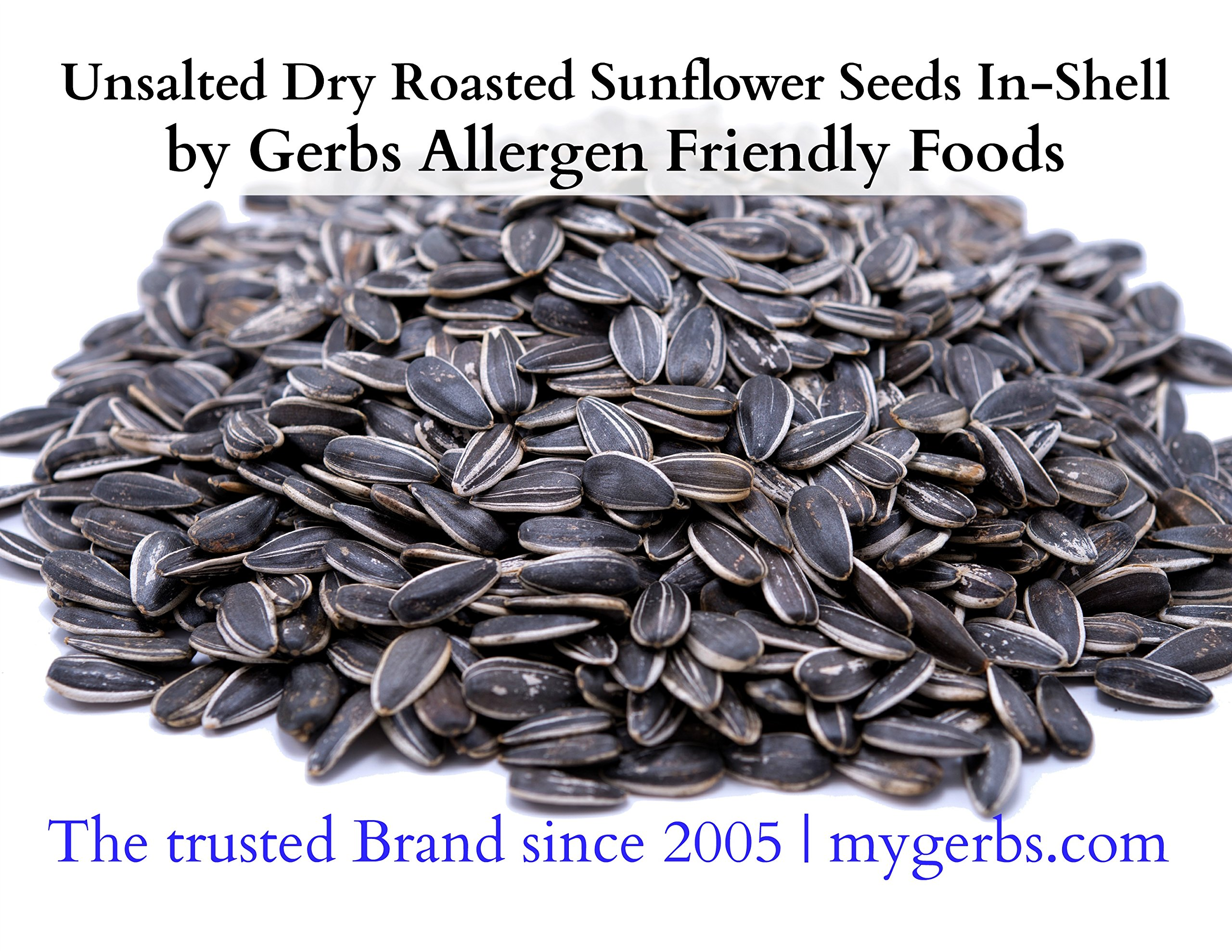 GERBS Unsalted Whole Sunflower Seeds by 4 LBS - Top 12 Food Allergy Free & NON GMO - Vegan & Kosher - In-Shell Dry Roasted Seeds Grown in USA by GERBS (Image #2)