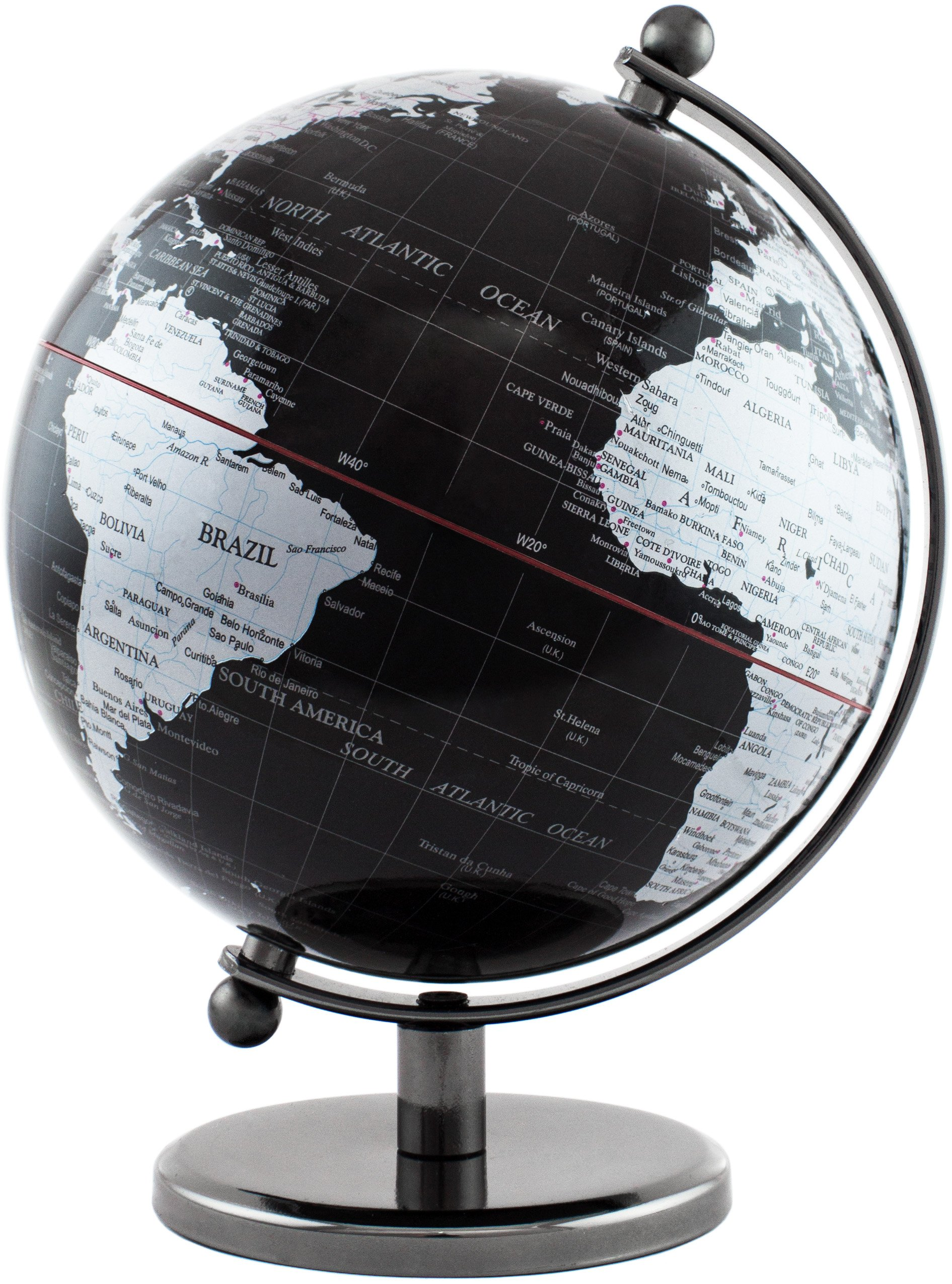 BRUBAKER Office Decoration Interactive Political World Globe - 7.5 inches tall - Black