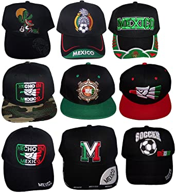 Mexico Mexican Embroidered Baseball Caps Hats Assorted Styles 6 Pc