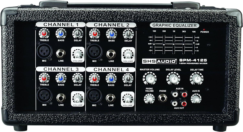 SHS – Audio spm-4125 120-Watt mesa de mezclas 4 canales, color ...